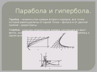 Парабола и гипербола. Парабола – незамкнутая кривая второго порядка, все точк