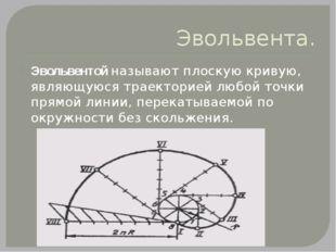 Эвольвента. Эвольвентой называют плоскую кривую, являющуюся траекторией любой