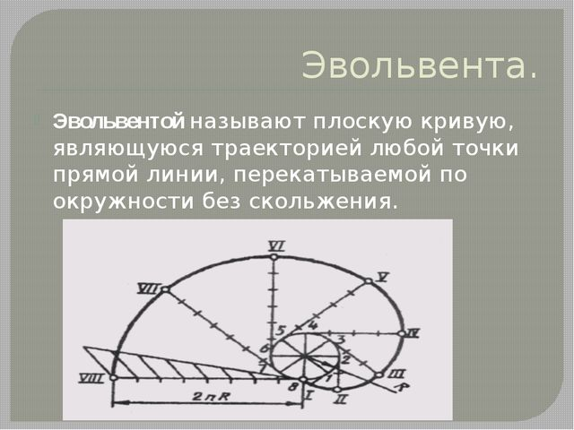Эвольвента. Эвольвентой называют плоскую кривую, являющуюся траекторией любой...