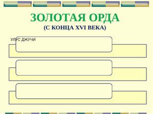 ЗОЛОТАЯ ОРДА (С КОНЦА XVI ВЕКА)
