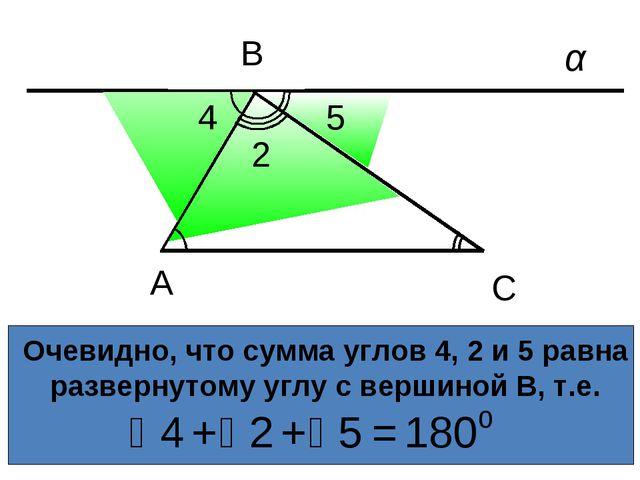 Очевидно, что сумма углов 4, 2 и 5 равна развернутому углу с вершиной В, т.е....