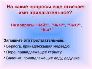 """На какие вопросы еще отвечает имя прилагательное? На вопросы """"Чей?"""", """"Чьё?"""","""