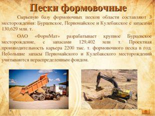 Пески формовочные Сырьевую базу формовочных песков области составляют 3 мест