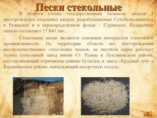 Пески стекольные В области учтено государственным балансом запасов 3 месторо