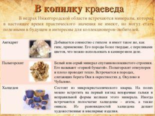 В копилку краеведа В недрах Нижегородской области встречаются минералы, кото