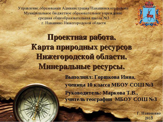 Проектная работа. Карта природных ресурсов Нижегородской области. Минеральные...