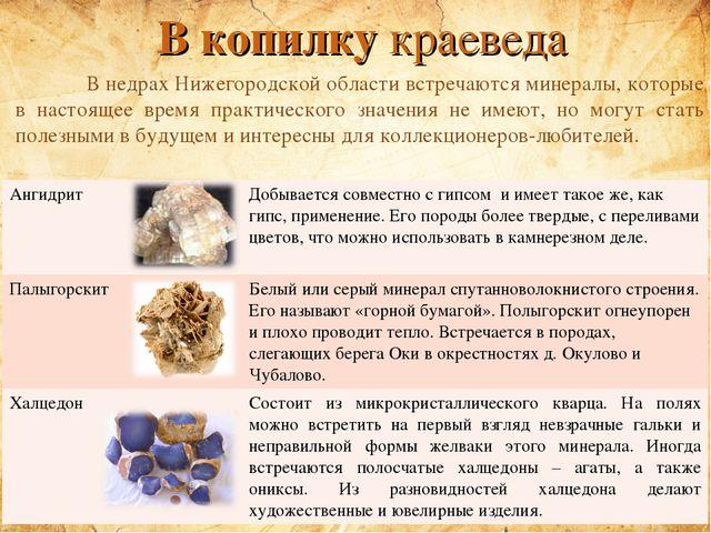 В копилку краеведа В недрах Нижегородской области встречаются минералы, кото...