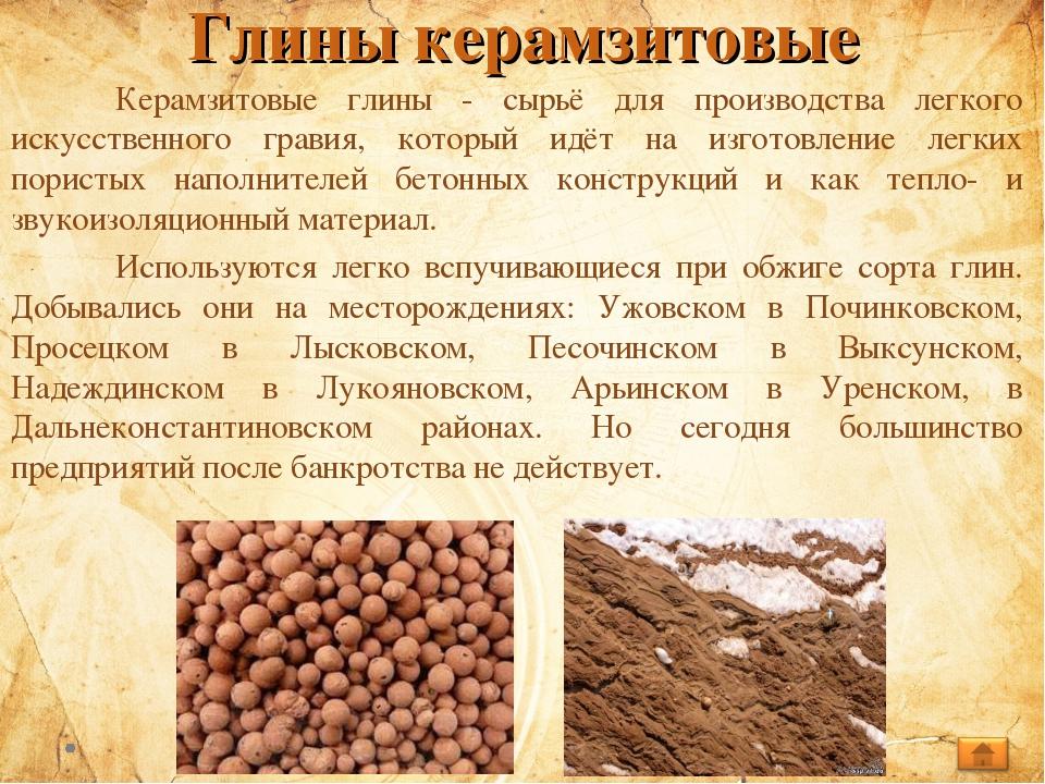 Глины керамзитовые Керамзитовые глины - сырьё для производства легкого искус...