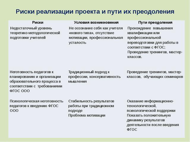 Риски реализации проекта и пути их преодоления Риски Условия возникновения Пу...