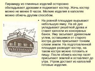 Пирамиду из глиняных изделий осторожно обкладывают дровами и поджигают костер