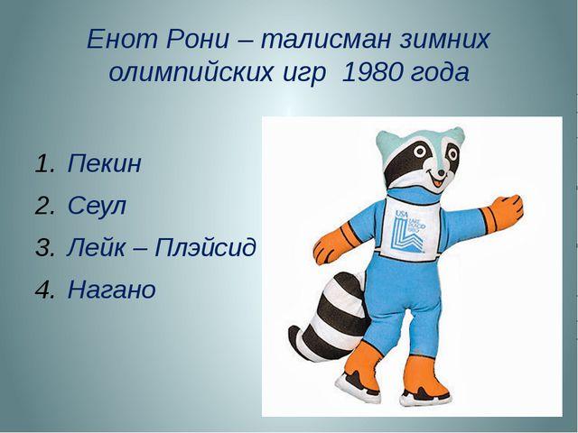 Енот Рони – талисман зимних олимпийских игр 1980 года Пекин Сеул Лейк – Плэйс...