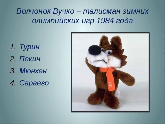 Волчонок Вучко – талисман зимних олимпийских игр 1984 года Турин Пекин Мюнхен...