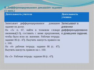 8. Дифференцированное домашнее задание (1 мин.) Деятельность учителя Деятельн