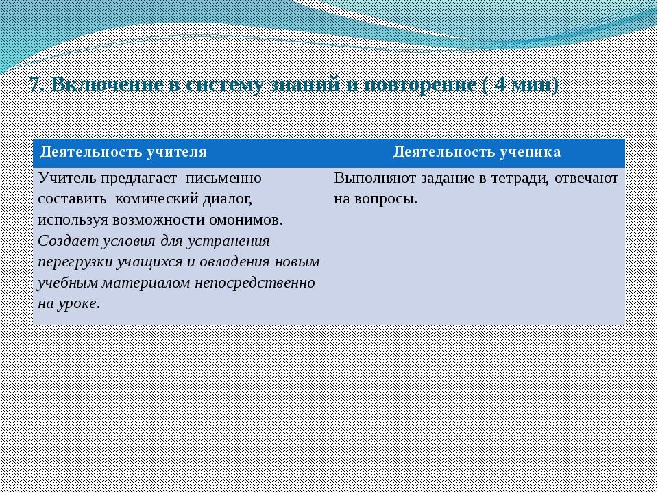 7. Включение в систему знаний и повторение ( 4 мин) Деятельность учителя Деят...