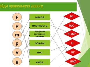 Найди правильную дорогу * F ρ P m V g масса плотность Ускорение свободного па