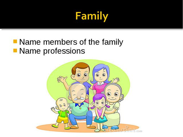 Name members of the family Name professions