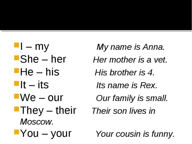 I – my My name is Anna. She – her Her mother is a vet. He – his His brother i...