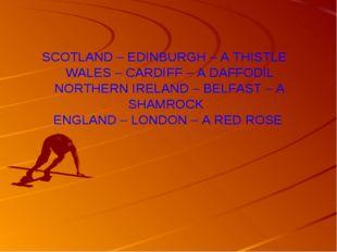 SCOTLAND – EDINBURGH – A THISTLE WALES – CARDIFF – A DAFFODIL NORTHERN IRELAN