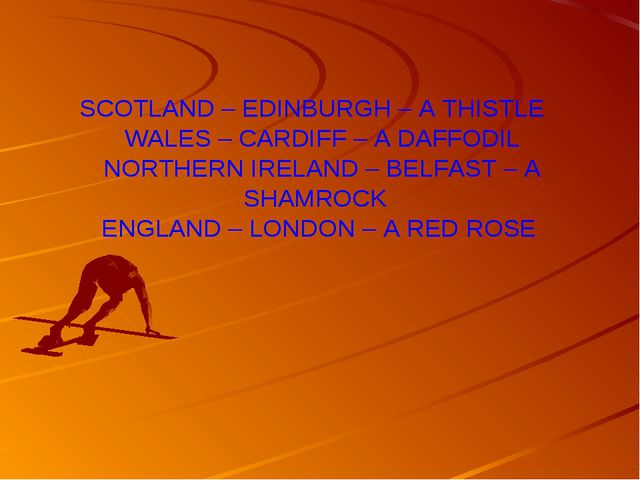 SCOTLAND – EDINBURGH – A THISTLE WALES – CARDIFF – A DAFFODIL NORTHERN IRELAN...