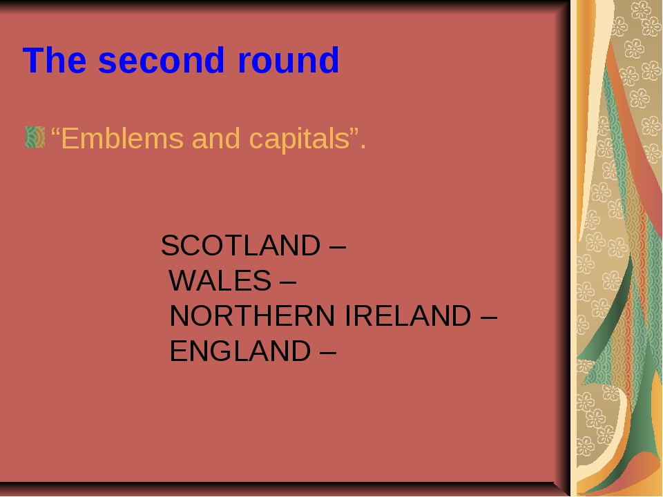"""The second round """"Emblems and capitals"""". SCOTLAND – WALES – NORTHERN IRELAND..."""