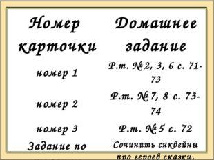 Номер карточки Домашнеезадание номер 1 Р.т. № 2, 3, 6 с. 71-73 номер 2 Р.т.№