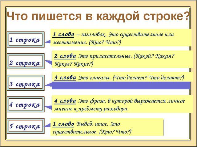 Что пишется в каждой строке? 2 строка 3 строка 4 строка 5 строка 1 слово – за...