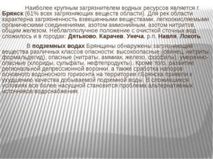 Наиболее крупным загрязнителем водных ресурсов является г. Брянск (61% вс
