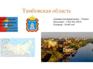 Тамбовская область Административный центр – Тамбов Население - 1062421(201