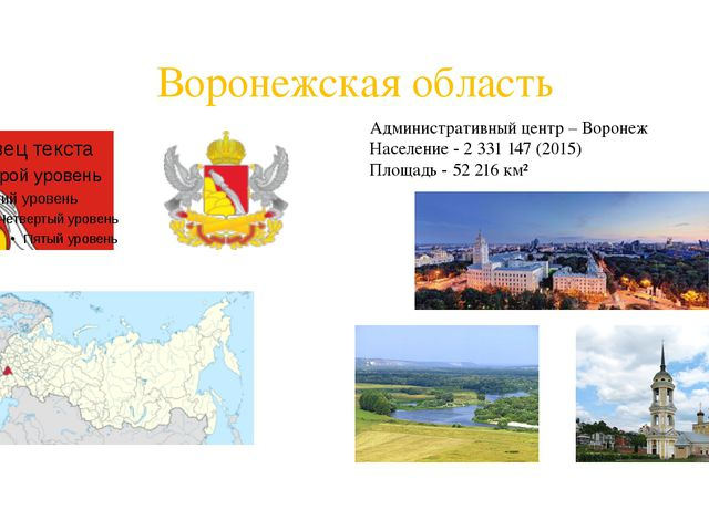 Воронежская область Административный центр – Воронеж Население - 2331147 (2...