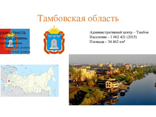 Тамбовская область Административный центр – Тамбов Население - 1062421(201...