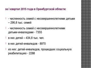 за I квартал 2015 года в Оренбургской области: - численность семей с несоверш