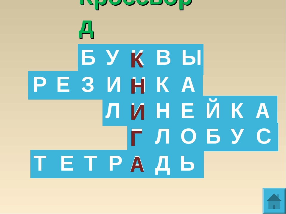 Кроссворд К Н И Г А      БУКВЫ РЕЗИНКА Л...