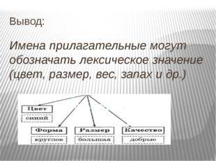 Вывод: Имена прилагательные могут обозначать лексическое значение (цвет, разм