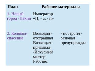 План Рабочие материалы 1. Новый город -Пекин  Император «П, - а, - п» 2. Кол