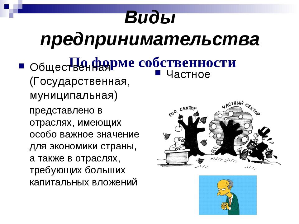Виды предпринимательства По форме собственности Общественная (Государственная...