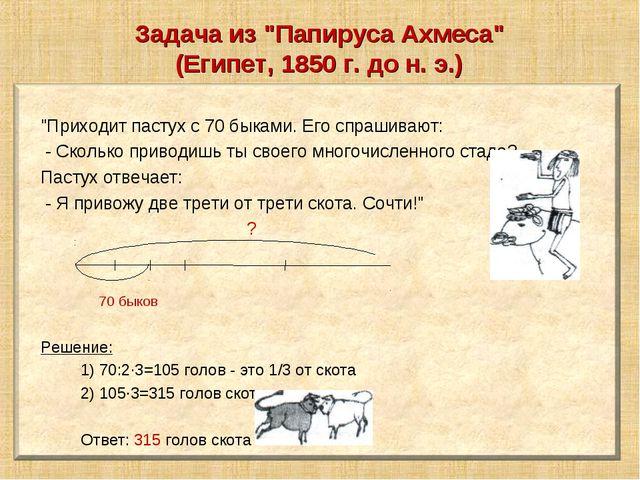 "Задача из ""Папируса Ахмеса"" (Египет, 1850 г. до н. э.)"
