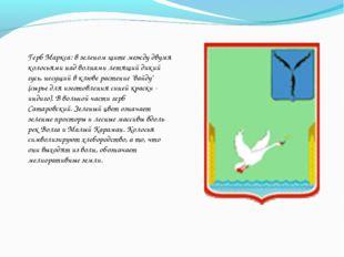 Герб Маркса: в зеленом щите между двумя колосьями над волнами летящий дикий г