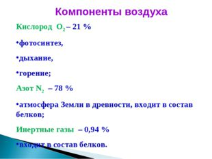 Компоненты воздуха Кислород О2 – 21 % фотосинтез, дыхание, горение; Азот N2 –