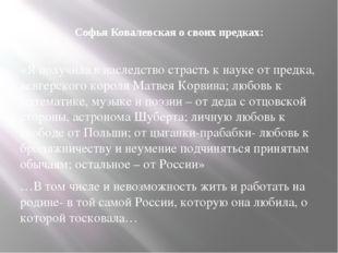 Софья Ковалевская о своих предках: «Я получила в наследство страсть к науке о