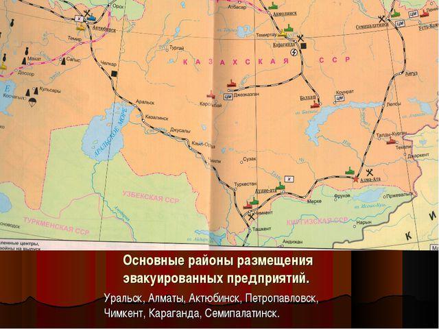 Основные районы размещения эвакуированных предприятий. Уральск, Алматы, Актюб...