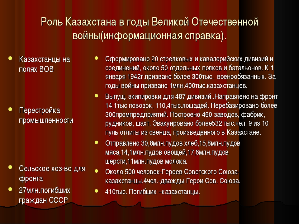 Роль Казахстана в годы Великой Отечественной войны(информационная справка). К...