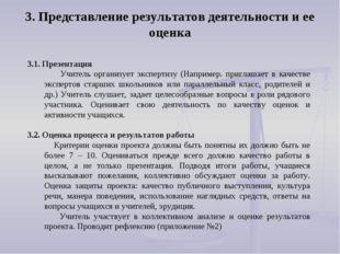 3.1. Презентация Учитель организует экспертизу (Например. приглашает в качест