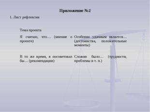 1. Лист рефлексии Приложение №2 Тема проекта Я считаю, что… (мнение о проек