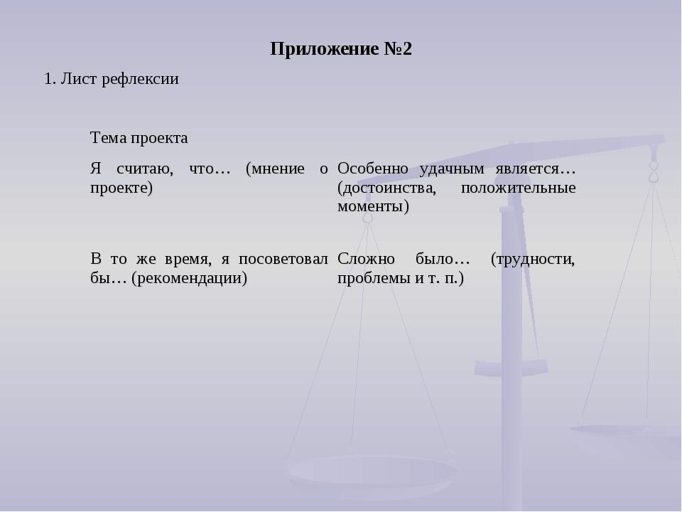 1. Лист рефлексии Приложение №2 Тема проекта Я считаю, что… (мнение о проек...