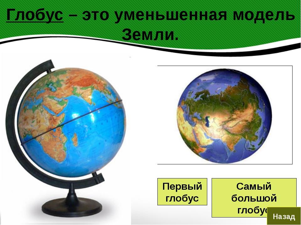 Глобус – это уменьшенная модель Земли. Первый глобус Самый большой глобус Назад