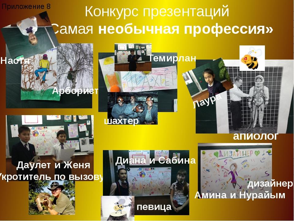Конкурс презентаций «Самая необычная профессия» апиолог Лаура Арборист Настя...