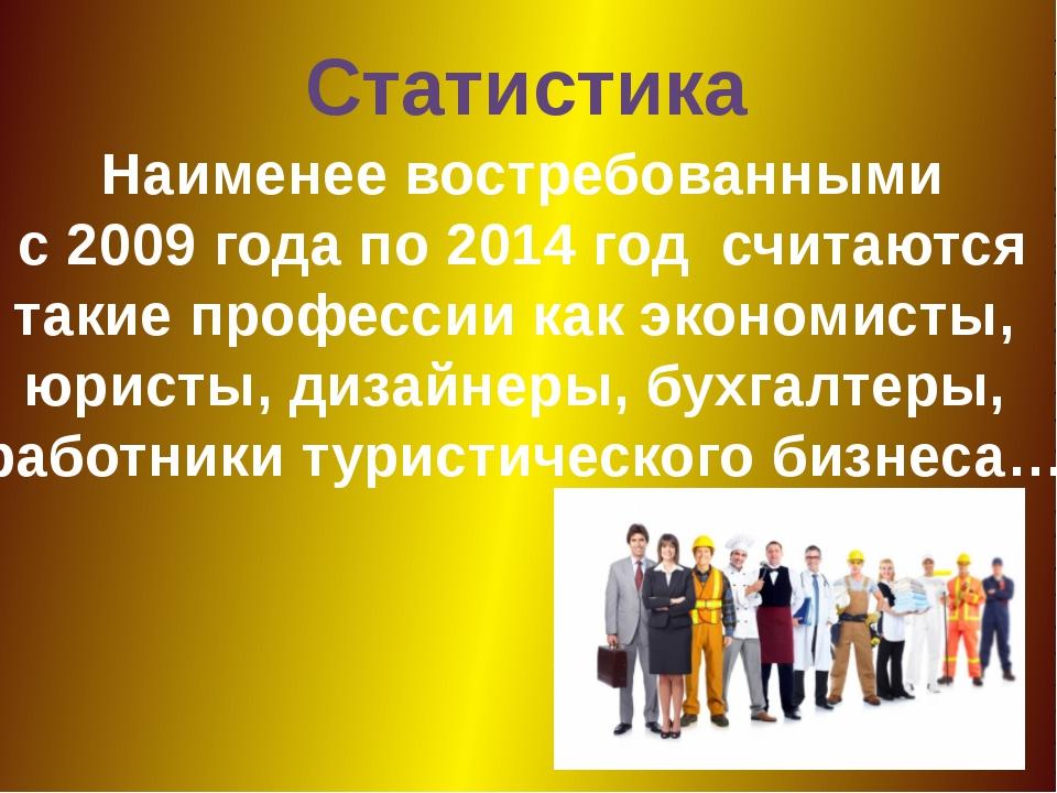 Статистика Наименее востребованными с 2009 года по 2014 год считаются такие п...