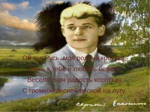 Ой ты, Русь, моя родина кроткая, Лишь к тебе я любовь берегу. Весела твоя ра