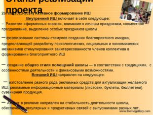 Этапы реализации проекта 2этап.(2013-2014) Активное формирование ИШ Внутренни