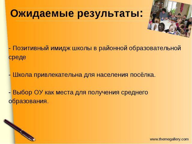 Ожидаемые результаты: - Позитивный имидж школы в районной образовательной ср...